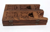 "Picture of Hand Carved Shesham Wood Table on Folding 8-Penal Stand | 12""Dx12""H 