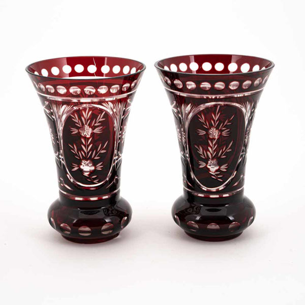 """Picture of Ruby Red Bud Vase Etched Cut Glass  Set/2  
