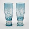 "Picture of Light Blue Bud Vase Etched Glass Wine Glass Shape Set/2  | 2.25""Dx6.5""H | Item No. 20669"