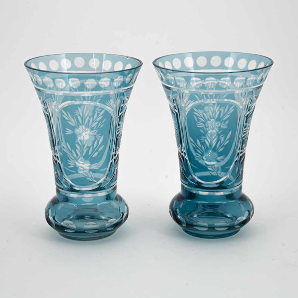 "Picture of Light Blue Bud Vase Etched Glass Ring Base  Set/2  | 3.75""Dx5.75""H 