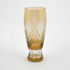 "Picture of Amber Bud Vase Cut Glass Geometric Pattern Centerpiece Set/2    2.25""Dx6.5""H    Item No. 20609"