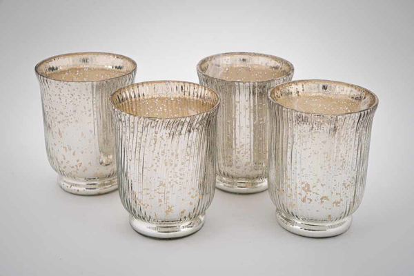 """Picture of Silver Mercury Glass Hurricane Vase with Lines Set/4   4.25""""Dx5.5""""H    Item No. 16065"""