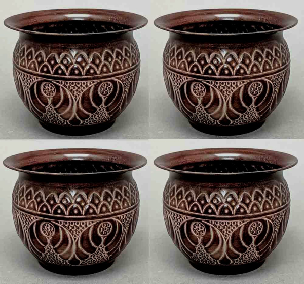 """Picture of Dark Brown Finish on Brass Planter Round Embossed Set/4  