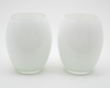"Picture of White Vase Glass Convex Floral Centerpiece Set/2  | 4""D x 7""H 
