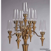 """Picture of Matte Gold Metal Candelabra Nine Light with Hurricane Shades   22""""W x 41""""H   Item No. 26101"""