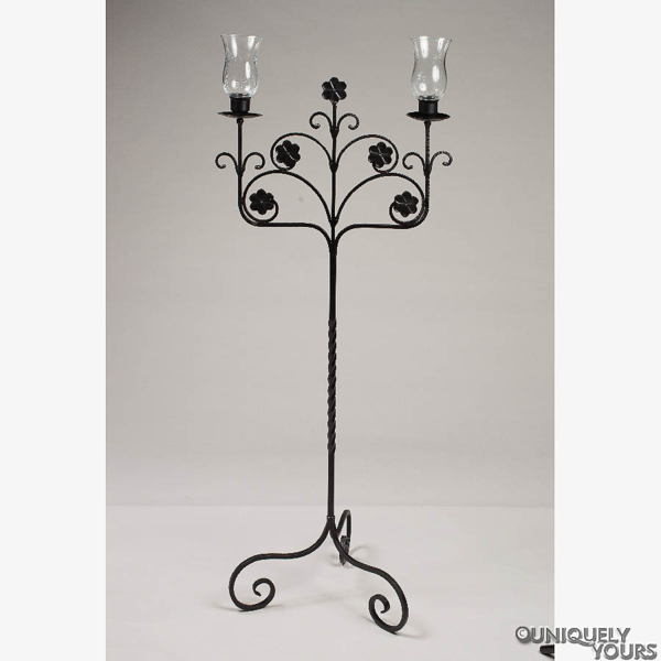 """Picture of Wrought Iron Black Candelabra for Aisle  2 Light & Hurricane Shades 