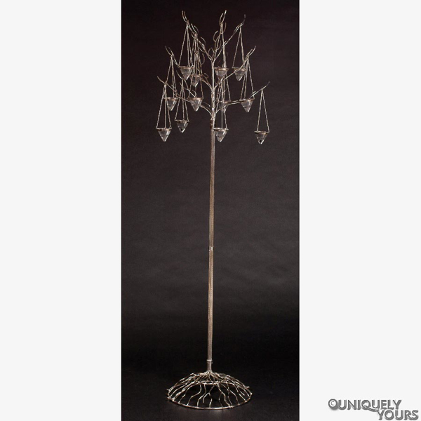 """Picture of Nickel Plated on Brass Tree Candelabra with 12 Hanging Cone Votives 