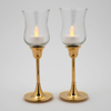 """Picture of Brass Candle Holders Contemporary Design Set/2    2.75""""D x5""""H    Item No. 99012"""