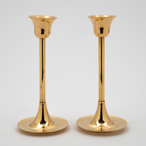 """Picture of Brass Candle Holders Contemporary Design Set/2  
