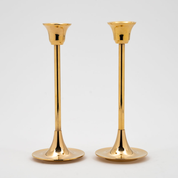 """Picture of Brass Candle Holders Contemporary Design Set/2    2.75""""D x7""""H    Item No. 99014"""