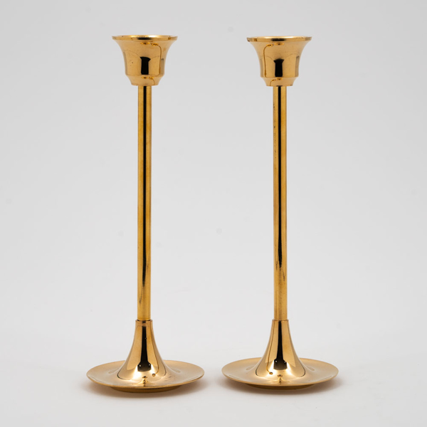 """Picture of Brass Candle Holders Contemporary Design Set/2    2.75""""D x8""""H    Item No. 99016"""