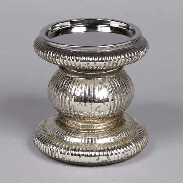 """Picture of Silver  Candle Holder Mercury Glass for Pillar Candles 