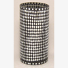 """Picture of Black Vase Mosaic Glass Cylinder with Diamond Shape Black & Mirror Chips 