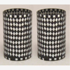 """Picture of Black Vase Mosaic Glass Cylinder with Diamond Shape Black & Mirror Chips Set/2   3.25""""Dx5.5""""H   Item No. 21215"""