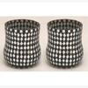 "Picture of Black Vase Mosaic Glass Bubble with Diamond Shape Black & Mirror Chips Set/2 | 4""Dx4.5""H | Item No. 21265"