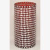 """Picture of Red Vase Mosaic Glass Cylinder with Diamond Shape Red & Mirror Chips 