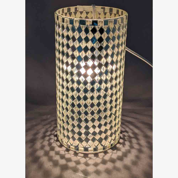 """Picture of Silver Vase Mosaic Glass Cylinder with Diamond Shape Clear & Mirror Chips 