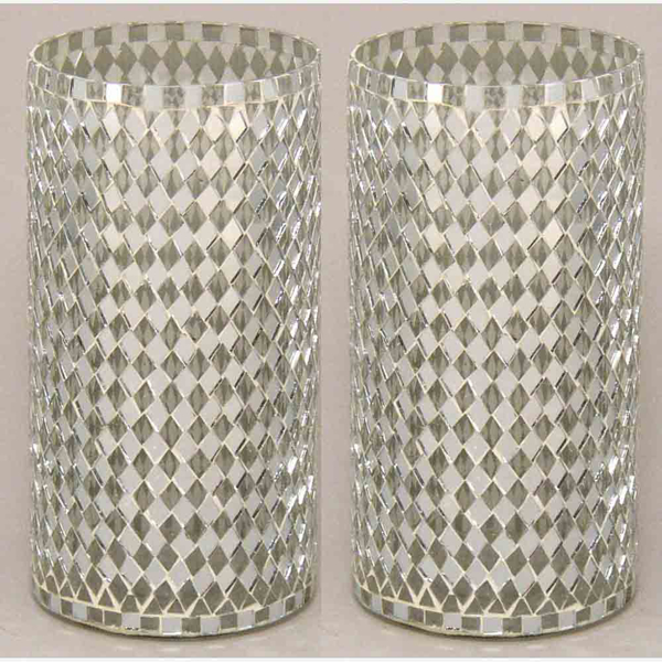 """Picture of Silver Vase Mosaic Glass Cylinder with Diamond Shape Clear & Mirror Chips Set/2   4""""Dx8""""H   Item No. 23214"""