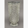 """Picture of Silver Vase Mosaic Glass with Diamond Shape Clear & Mirror Chips   6.75""""Dx13.5""""H   Item No. 23217"""