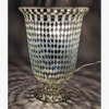 """Picture of Silver Vase Mosaic Glass Cache with Diamond Shape Clear & Mirror Chips 
