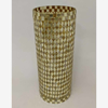 """Picture of Gold Vase Mosaic Glass Cylinder with Diamond Shape Gold & Mirror Chips 