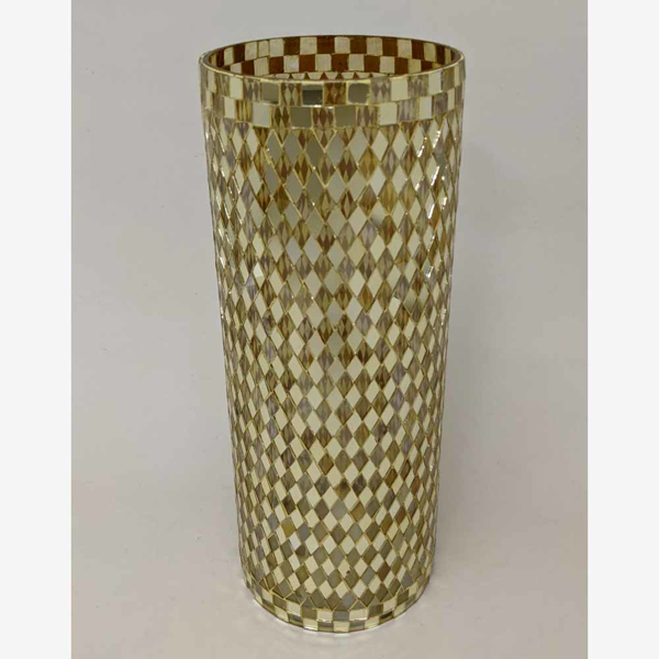 """Picture of Gold Vase Mosaic Glass Cylinder with Diamond Shape Gold & Mirror Chips   6""""Dx15.5""""H   Item No. 46212"""