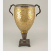 """Picture of Gold Vase Mosaic Glass Cone Metal Base with Handles    8""""Dx16.5""""H    Item No. 66131"""