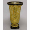 """Picture of Vase Mosaic Glass Cylinder Metal Base & Top Ring Gold 