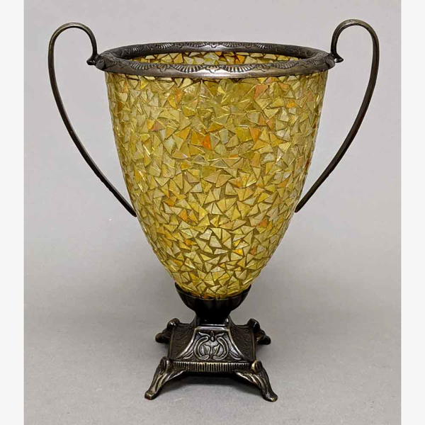 """Picture of Gold Vase Mosaic Glass Cone Metal Base With Handles  