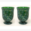 """Picture of Green Vase or Votive Candle Holder Glass Green chips in Mosaic Pattern Set/2  