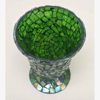 """Picture of Green Vase or Votive Candle Holder Glass Cone Shape Mosaic Pattern Set/2  I 4""""Dx5.5""""H   Item No. 67109"""