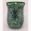 """Picture of Green Vase or Votive Candle Holder Glass Mosaic Pattern  