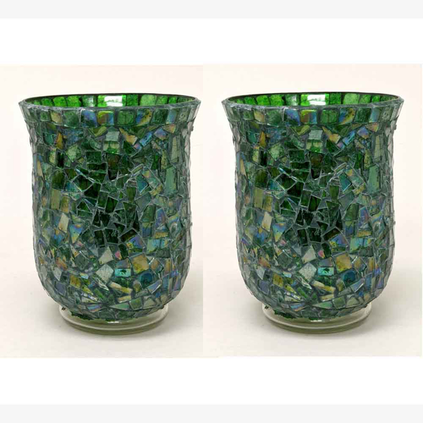 """Picture of Green Vase or Votive Candle Holder Glass Hurricane Shape Mosaic Pattern Set/2    4""""Dx6""""H   Item No. 67111"""