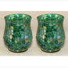 """Picture of Green Vase or Votive Candle Holder Glass Hurricane Shape Mosaic Pattern Set/2  