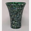 """Picture of Green Vase Mosaic Glass Flare Top French Style Centerpiece  