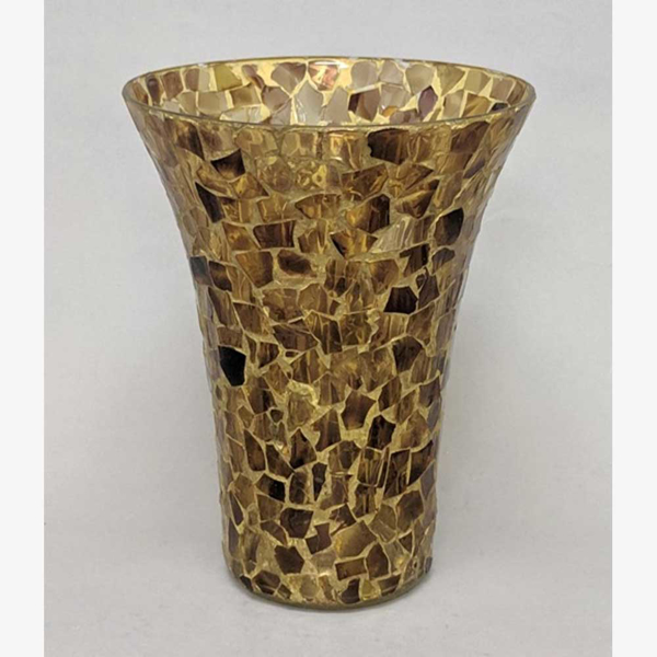 """Picture of Gold-Brown Vase Mosaic Glass Flare Top French Style Centerpiece    7""""Dx8.5""""H    Item No. 68113"""