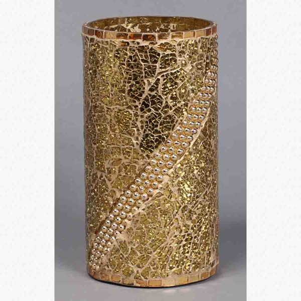 """Picture of Gold Vase Mosaic Glass Cylinder with Pearl Beads Centerpiece   6.25""""Dx10""""H   Item No. 24402"""