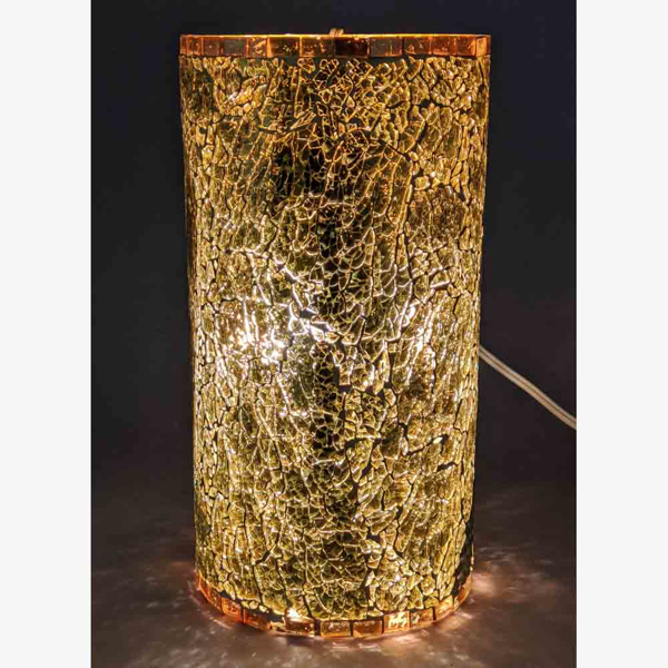 """Picture of Gold Vase Mosaic Glass Cylinder with Pearl Beads Centerpiece 