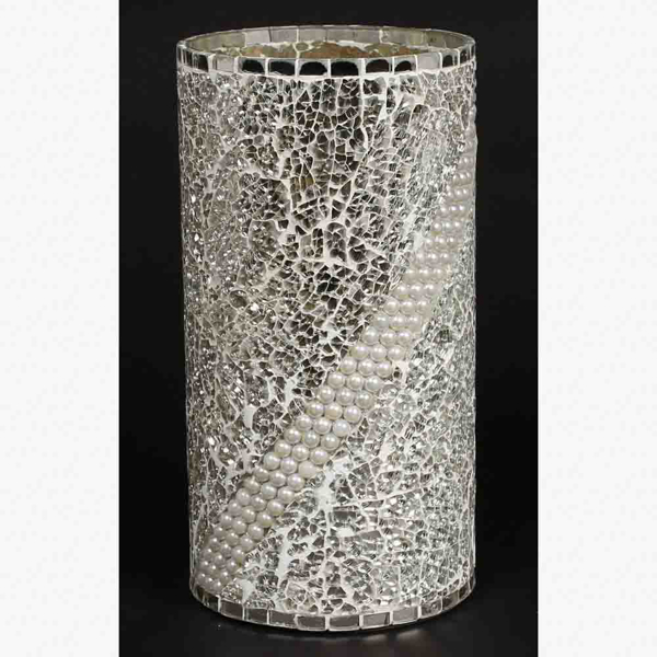 """Picture of Silver Vase Mosaic Glass Cylinder with Pearl Beads Centerpiece   6.25""""Dx10""""H   Item No. 24412"""