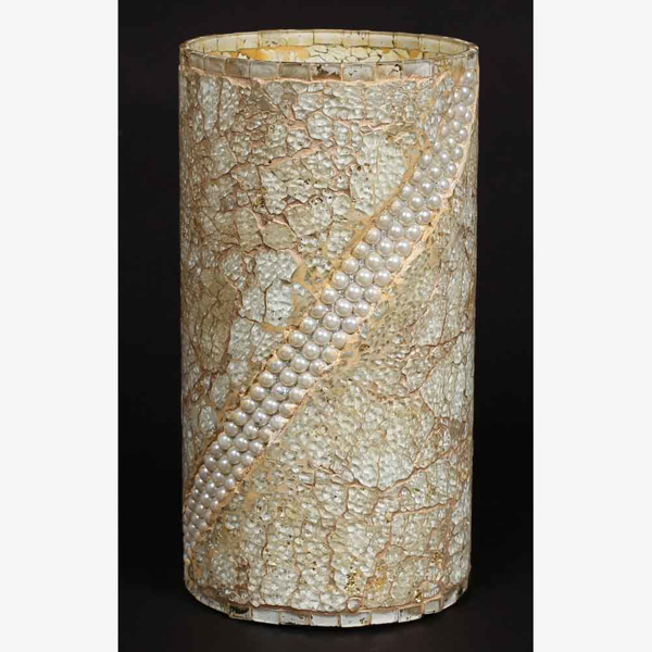 """Picture of Sea Green Vase Mosaic Glass Cylinder with Pearl Beads Centerpiece 
