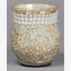"""Picture of Sea-Green Votive Holder or Vase Glass Chips in Mosaic  Pattern with Pearl Beads  Set of 2 