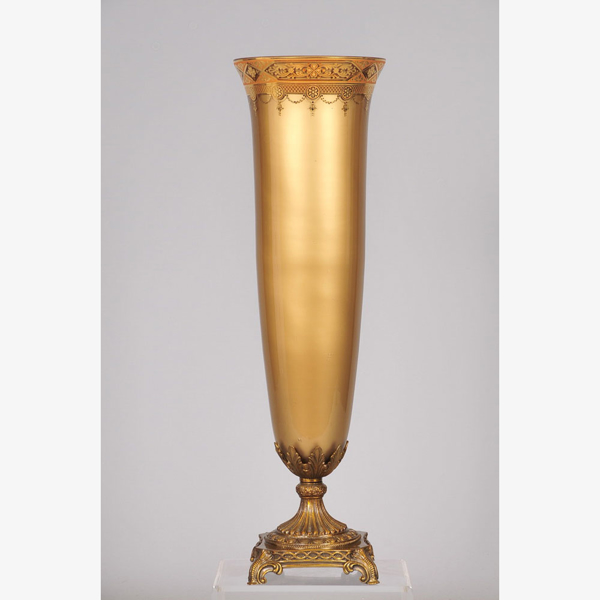 """Picture of Gold Glass Trumpet Vase with Gold Print Top Border Metal Base   8""""Dx27""""H    Item No. 20754"""