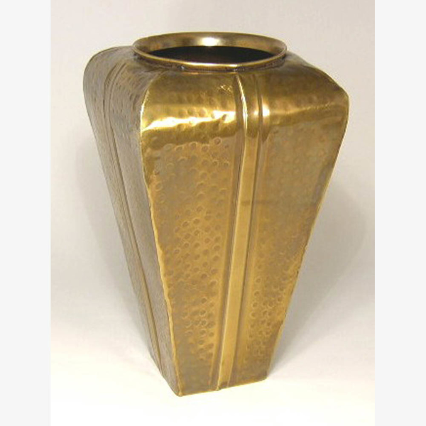 """Picture of Antique Gold Vase Square Tapered Hammered  