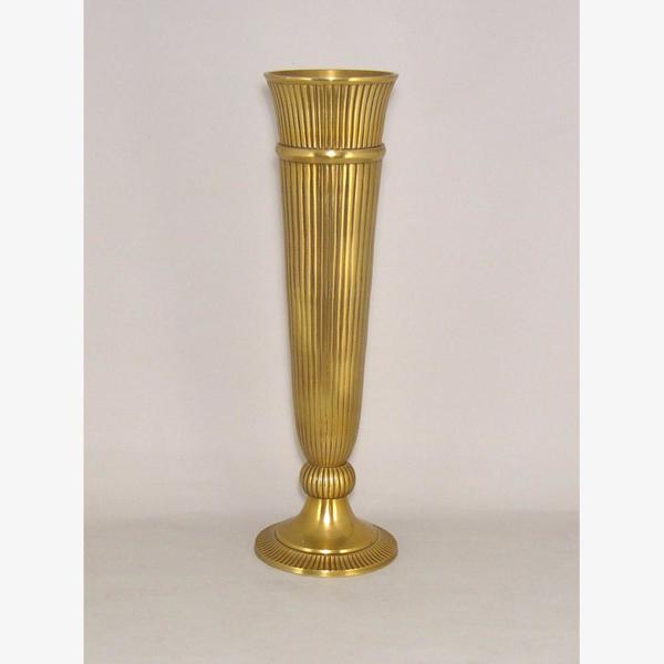 "Picture of Antique Gold  Trumpet Vase Fluted Floral Centerpiece  | 7.5""Dx24""H |  Item No. 51608"