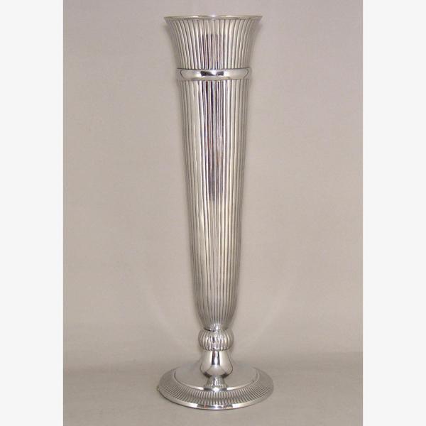 "Picture of Polished Aluminum Trumpet Vase with Lines Floral Centerpiece | 9""Dx29""H |  Item No. 51602"