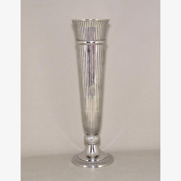 "Picture of Polished Aluminum Trumpet Vase with Lines Floral Centerpiece | 7.5""Dx24""H |  Item No. 51603"