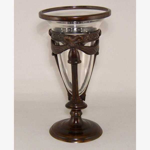 """Picture of Glass Cone Vase in Bronze Patina Finish Stand    7""""Dx12""""H    Item No. 79103"""