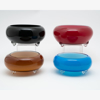 """Picture of Black Bowl Glass  Garden Dish with Clear Glass Feet  