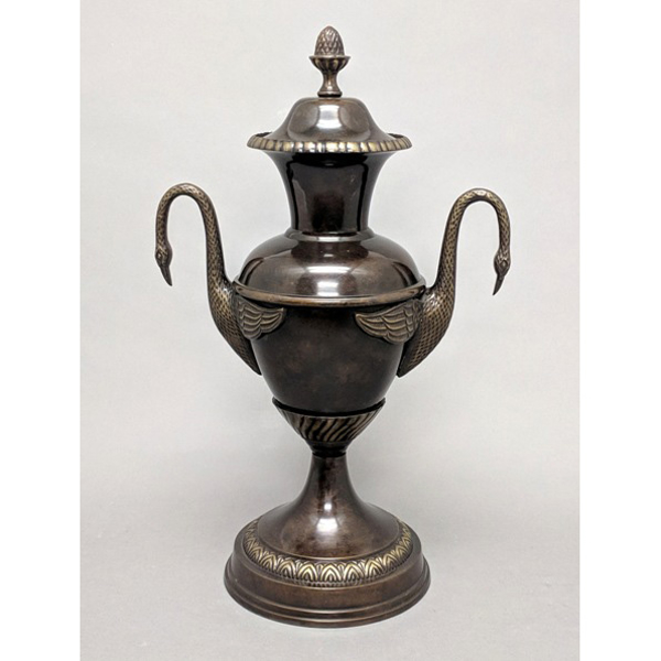 """Picture of Bronze Finish on Brass Unique Decorative Accent Finial with Bird Handles    6.5""""Dx18""""H    Item No. 83201"""