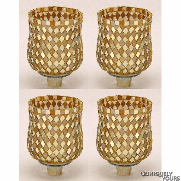 """Picture of Peg Votive Candle Holder Mirror Mosaic Gold Set of 4    3""""Dx4.25""""H    Item No.46264"""